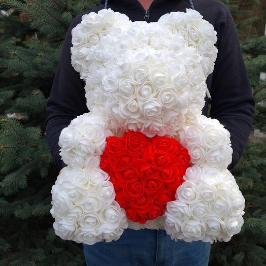 Flowers Lovers - мишка из роз из фоамирана белый