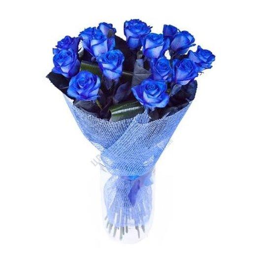 15 синих роз с аспидистрой