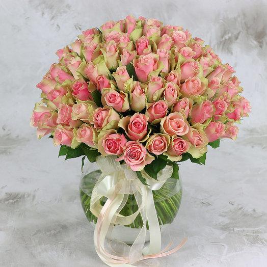 Букет из 101 зелено-розовой розы 40 см: букеты цветов на заказ Flowwow