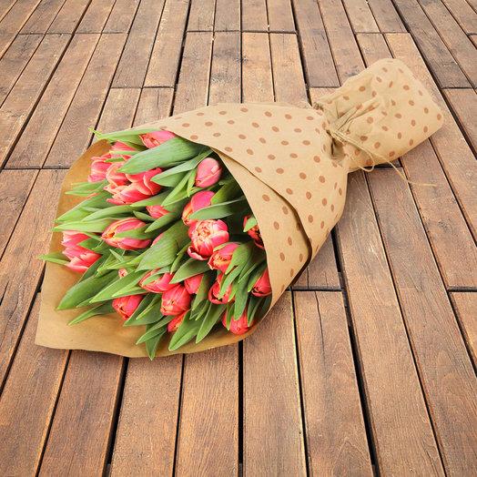 """Букет из 25 пионовидных тюльпанов """"Коламбус"""""""