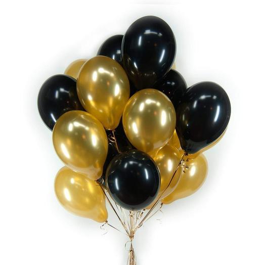 15 шаров черных и золотых: букеты цветов на заказ Flowwow