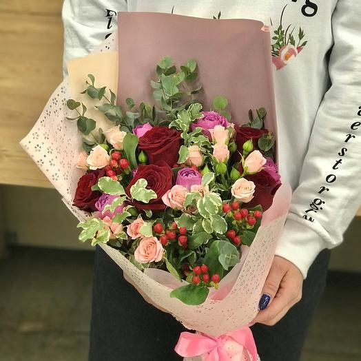 Розы. Авторский букет. N389: букеты цветов на заказ Flowwow