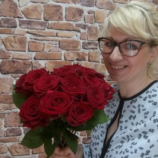 Красная роза, 15 шт: букеты цветов на заказ Flowwow