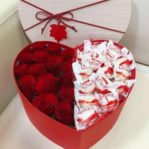 Сердце с раффаэло: букеты цветов на заказ Flowwow