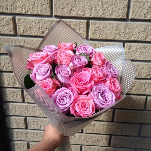Букет роз из 17 розовых, оптовым