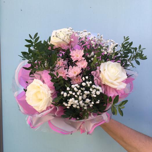 Розы в розовом: букеты цветов на заказ Flowwow