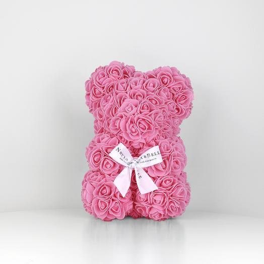 Мишка из роз 25 см розовый: букеты цветов на заказ Flowwow