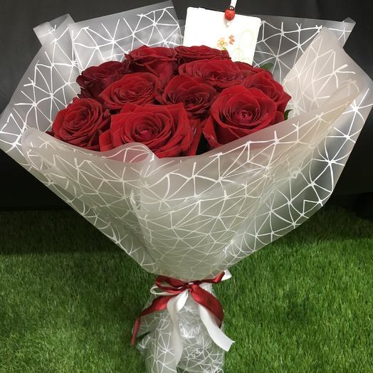 Букет из 11 красных роз ( 50 см ): букеты цветов на заказ Flowwow