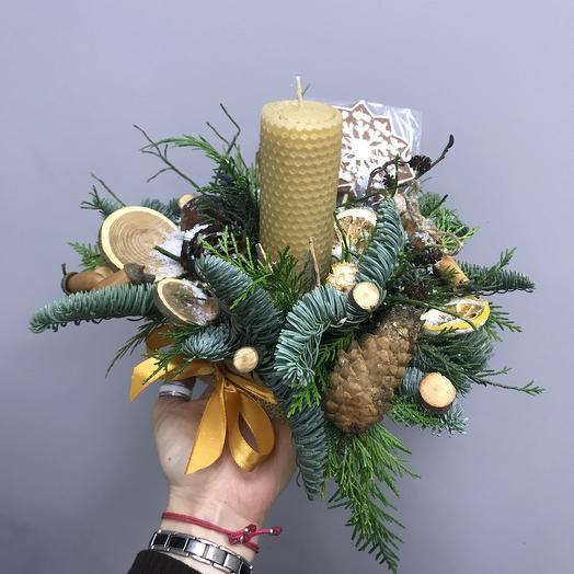 Композиция со свечой: букеты цветов на заказ Flowwow