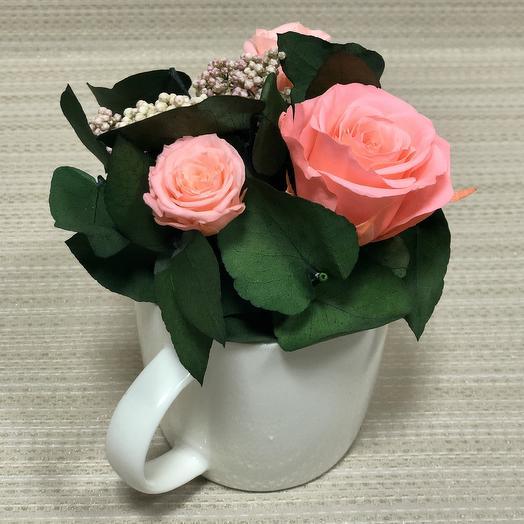Розы ярко-розового цвета с эвкалиптом