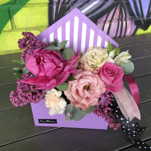 Цветочный конверт с пионом: букеты цветов на заказ Flowwow