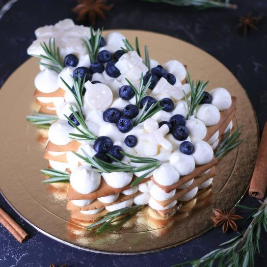 Медовый торт «Ёлочка» с пряной клюквой