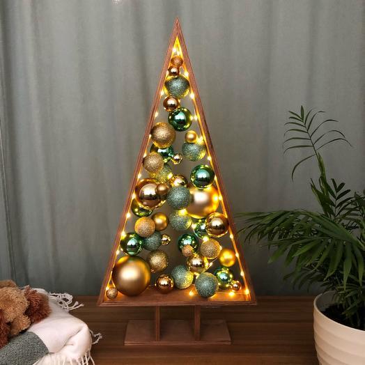 Новогодняя Ёлка 🎄 зелёный золотой темный дуб