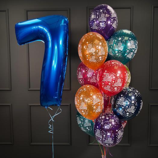 Композиция из шаров с днем рождения с синей цифрой на выбор
