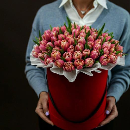 """🔥Коробка""""89 пионовидных ярко-розовых тюльпанов"""