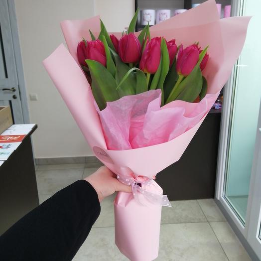 Букет из 9 пионовидных тюльпанов