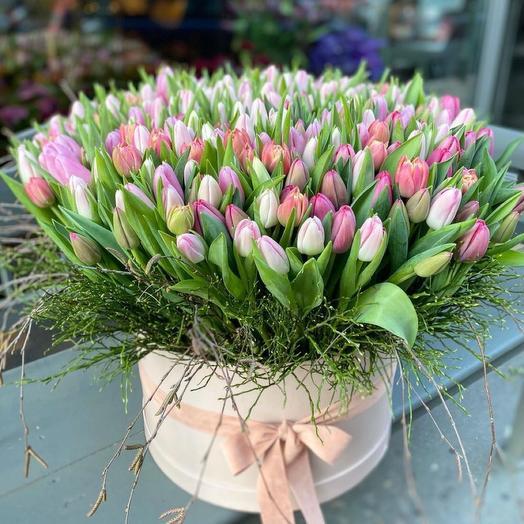 Цветы в коробке Тюльпаны королевские