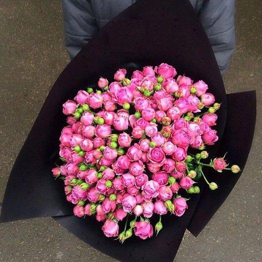 19 пионовидных роз в черном крафте: букеты цветов на заказ Flowwow