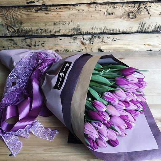Букет из 51 тюльпана «Северное сияние»