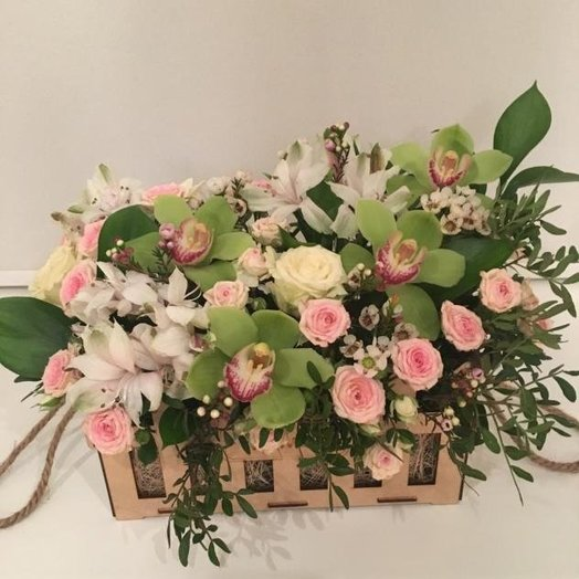 Подарочная композиция с зеленой орхидеей