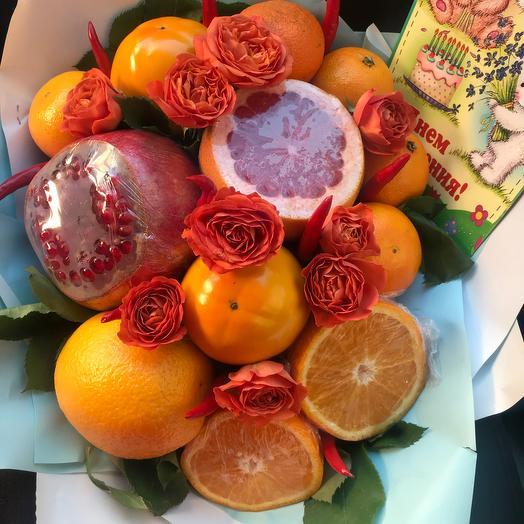 Фруктовый букет «грейпфрут»: букеты цветов на заказ Flowwow