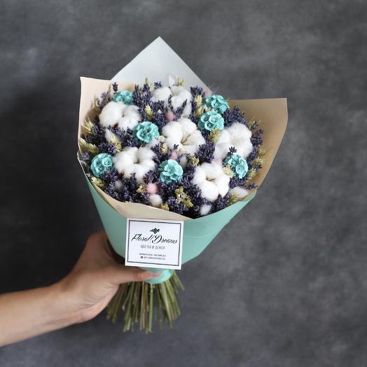 Букет из лаванды и хлопка 01: букеты цветов на заказ Flowwow