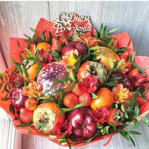 Фруктовый букет «Улыбка»: букеты цветов на заказ Flowwow