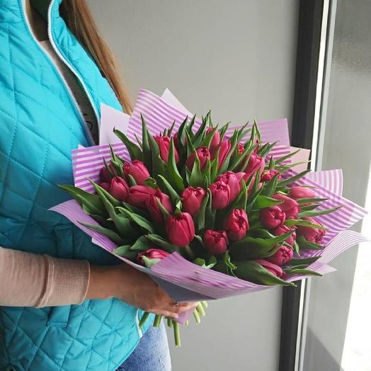"""Букет пионовидных тюльпанов """"Малиновый Фреш"""": букеты цветов на заказ Flowwow"""