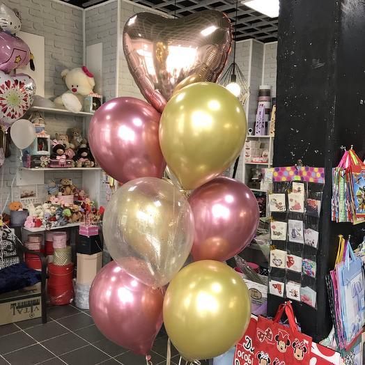 Фонтан   Из 10 шаров розовое золото: букеты цветов на заказ Flowwow