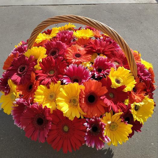 51 гербера в корзине: букеты цветов на заказ Flowwow