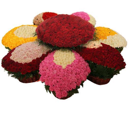 """Композиция из 1501 розы """"Цветы любви"""": букеты цветов на заказ Flowwow"""