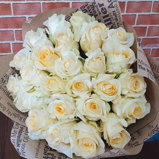 Роза Крем де крем 60см (25шт): букеты цветов на заказ Flowwow