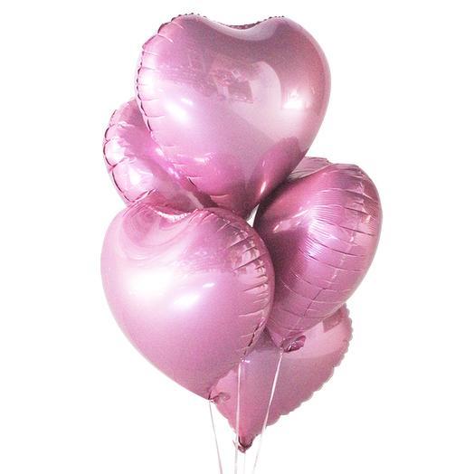 Набор из 5 шаров в виде сердца