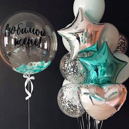 Фонтаны из шаров с Баблс шаром любимой жене