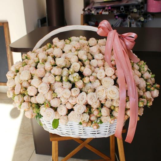 Корзина со 101 кустовой пионовидной розы