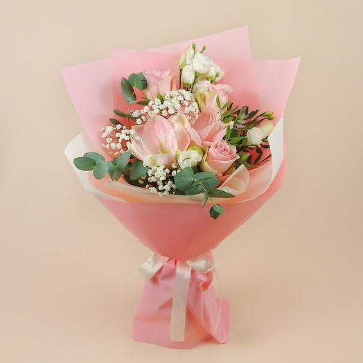 Букет с розовым амариллисом и розами Пинк Атена (92)