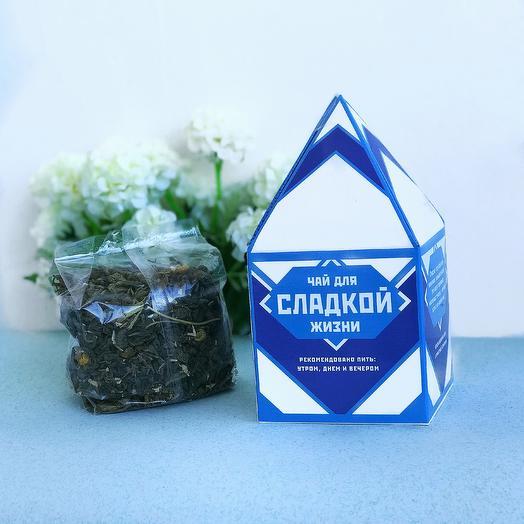 Чай Мёд и Ваниль (зеленый китайский чай Гу Шу с добавлением ромашки, стевии, лепестков василька)