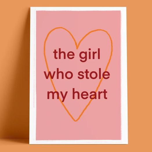 Открытка «Девушка, которая украла мое сердце»