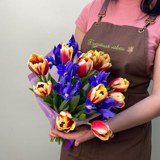 Combined bouquet with tulips