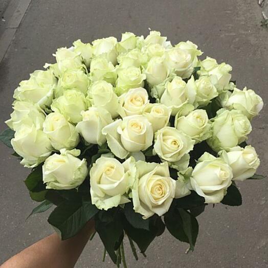 51 белая роза 40 см Топпер в подарок