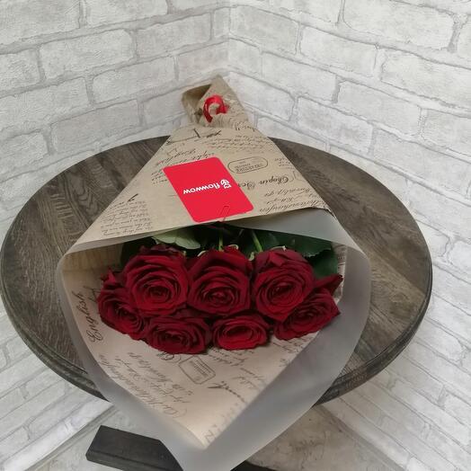 Букет из 7 бордовых роз
