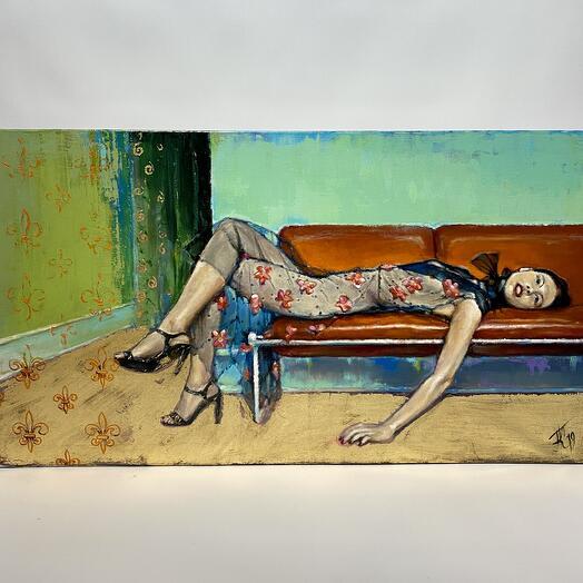 "Картина ""Дама на диване"" 89,5*49,5 см. масло, холст"