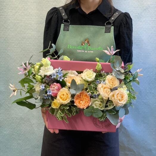 Нежная Композиция с розами , лавандой и ароматным эвкалиптом