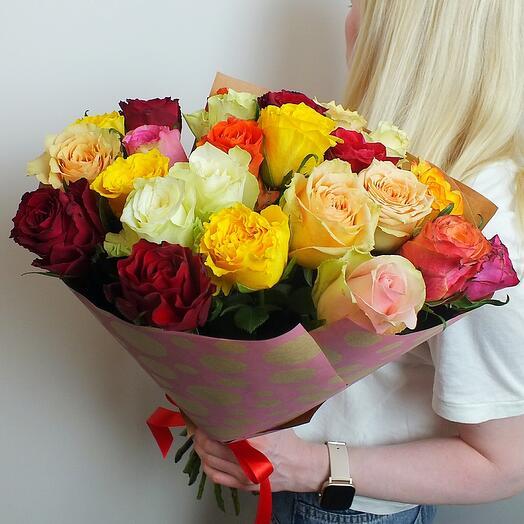 Объемный микс 25 роз