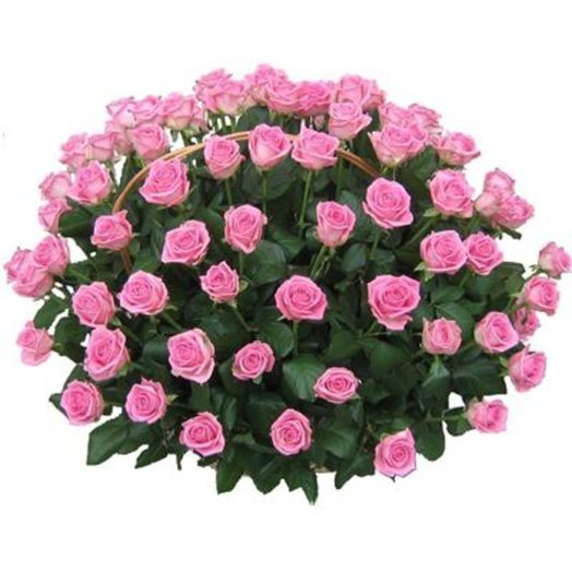 Корзина розовых роз: букеты цветов на заказ Flowwow