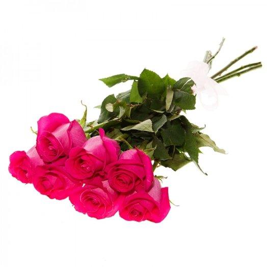 Букет из 7 роз Розовая пантера: букеты цветов на заказ Flowwow