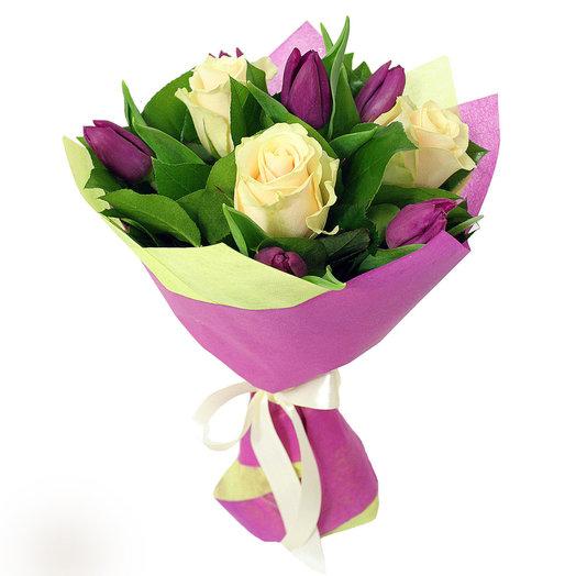 Букет 190 с тюльпанами: букеты цветов на заказ Flowwow