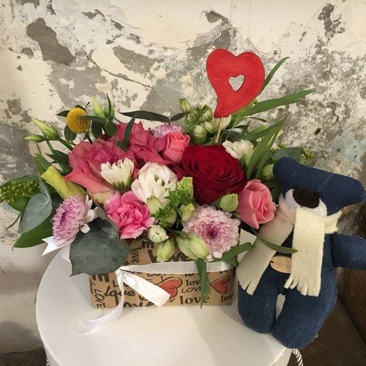 "Композиция с мишкой Тедди ""Мимимишка"": букеты цветов на заказ Flowwow"