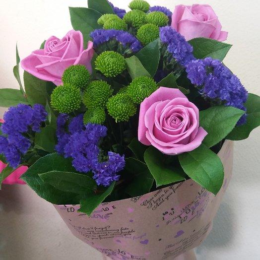 Букет с хризантемой, синий