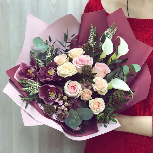 Стильный букет с орхидеями: букеты цветов на заказ Flowwow